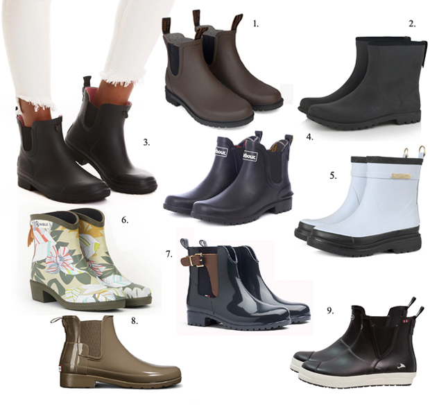 Korte blanke gummistøvler i Chelsea model fra BILLI BI